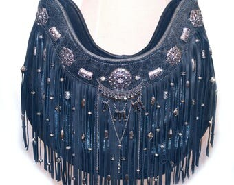 Leather | Fringe | Gypsy | Boho | Bag | Designer | Bags and Purses | Black Leather