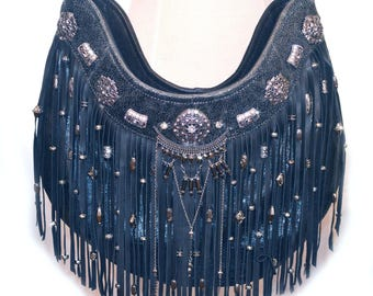 Leather | Fringe | Gypsy | Boho | Bag | Designer | Bags and Purses | Black Leather