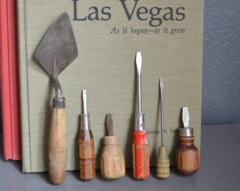 Collection of 6 Vintage Tools Antique Tools Farm Mini Woodworking Wooden Handles Screwdrivers Red Brown Painted Lot Shop