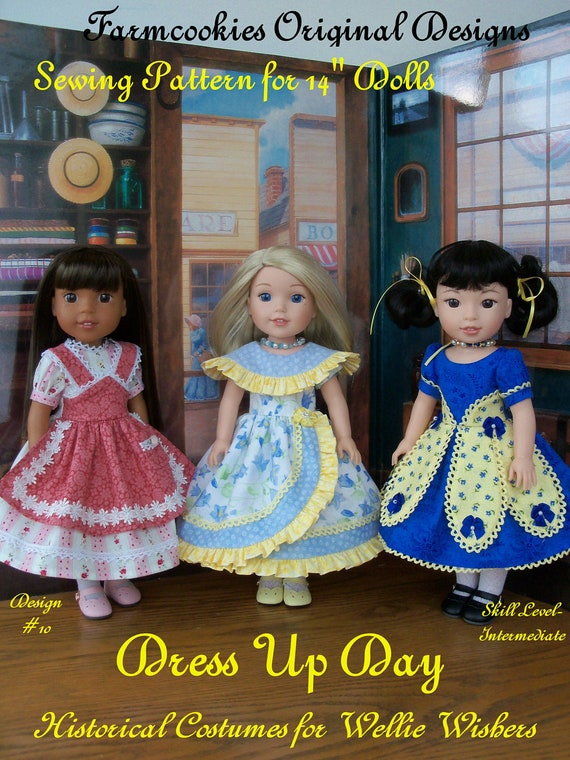 "XL Wellie Wisher® PDF Sewing Pattern: Dress Up Day / Historical Pattern for 14"" American Girl  Wellie Wishers®"