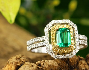 1.41tcw 14K Two Toned Colombian Emerald Ring, Double Halo Diamond Engagement Ring, Emerald Engagement Ring, Emerald Ring, Emerald engagement