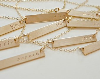 Personalized Bar Necklace, Silver, Gold, Rose Gold, Nameplate Necklace Personalized Jewelry, Gifts for Her, Best Friend, Graduation Gift