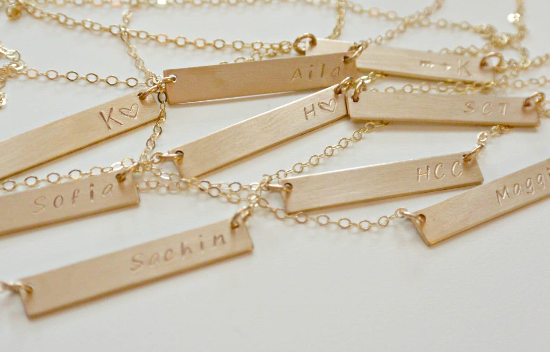 personalized bar necklace silver gold rose gold nameplate. Black Bedroom Furniture Sets. Home Design Ideas