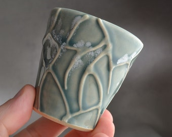 Espresso Cup Ready To Ship Gray Random Lines Coffee Mug by Symmetrical Pottery