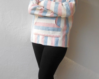 Vintage 1980s Mexican navy, red, & white woven Baja Hoodie, One Size