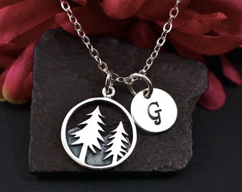 Tree Necklace - Pine Tree and Mountain Necklace - Personalized Necklace - Initial Necklace