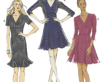 Vogue 8922 Misses' Petite Lined  A Frame or Dress with Flared Godets Sewing Pattern Size 12 to 20 Bust 34 to 42