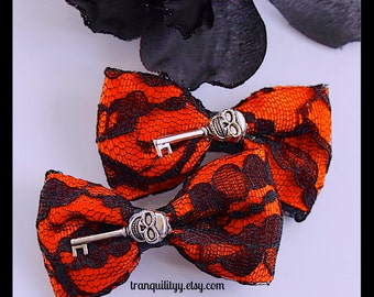 Skull Hair Bow,  Black Lace Hair Bow ,Emo, Vamp, Gothic Hair Clip, Handmade Bytranquilityy