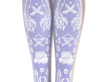 Pastel Goth Lilac Narwhal Pirate Tights White on Lavender Purple Fairy Kei Sweet Lolita