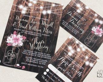 Mason Jar, flower, fairy lights Wedding Invitations.