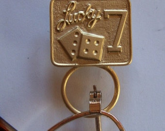 Magnetic Lucky 7 Dice Gold Finish Eyeglass/ID Badge Holder