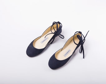 Handmade Leather Navy Blue Suede Ballet Flats | Ballerina Style Flats | Pointe Style Shoes ... Navy with Leather Ribbons...Made to Order