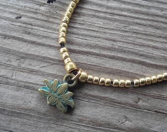 Lotus and Om / Black and Gold / Silk Adjustable Bracelet