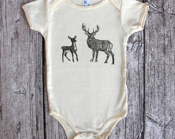 Deer baby bodysuit - woodland baby clothes - organic woodland baby - organic baby clothes - Bodysuits - forest baby clothes - stag and fawn