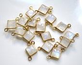 Rainbow Moonstone Diamond Shape Connector with Vermeil Gold Bezel, 17x10mm