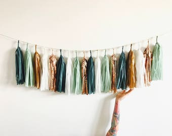 sage green rose gold and copper tassel garland eucalyptus baby shower decorations teal