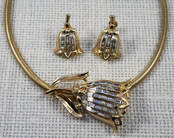 Coro Gold Tone and Rhinestone Tulip Pendant Choker Necklace and Earrings Set