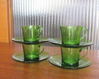 Vintage 60's Shamrock Green Duralex France Tea Cups and Saucers - set of 8 - Tea Time - Tea for Four - Teacups - Saucers - 60's Tea Party