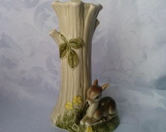 OMC Japan Ceramic Vase, Hand Painted, Fawn, Tree Flowers