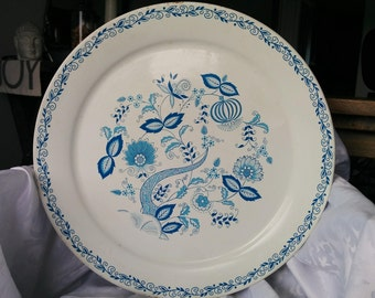 Extra Large Round Tray White and Blue - 19 inches, Large Tin Tray White and Blue, White and Blue Kitchen Tray
