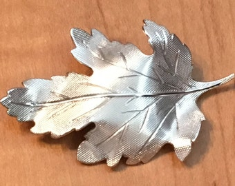 STERLING SILVER Leaf BROOCH Pin