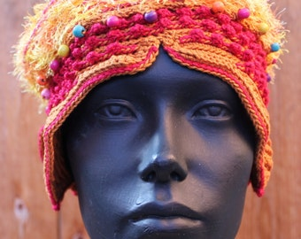 Yellow Orangy Fuzzy Crochet Hat with a Coconut Button...