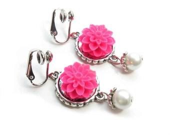 Hot Pink Flower Clip-On Earrings