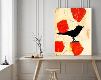 bird art, abstract bird art, nature art, modern art, modern home decor, wall art, wall hanging, large print, giclee art, office art, bird
