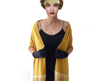 Mustard Yellow Suede Shawl Stole Lace Stole Wrap Soft Fringe Piano Evening Shawl Elegant Comfy Cut Out Dinner Cocktail