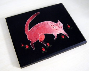Mr. Thompson the Cat Plaque Mounted Giclee Print Illustration