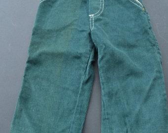 Vintage Green Corduroy Toddler Pants 12 Months