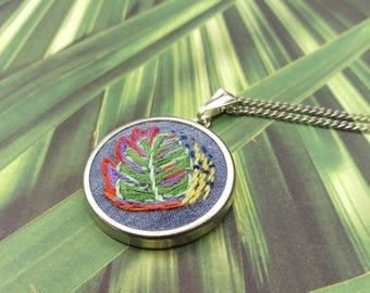 Embroidered Necklace. Hand Embroidery Jewelry. Modern Embroidery. Hand Stitched Pendant. Round Necklace. Embroidered Monstera. HOOPLASTITCH