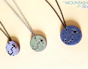 Scorpio Constellation Necklace – Round Ceramic Pendant Necklace, Zodiac Jewelry, Constellation Jewelry