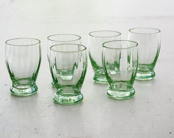 set of 6  french Vintage french design small glasses from the 50s, Appetizer Glass , light green glass , shot glasses