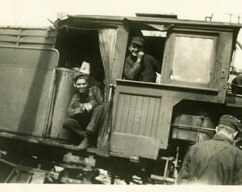"Vintage Photo ""The Train Boys"" Snapshot Antique Photo Old Black & White Photograph Found Paper Ephemera Vernacular - 137"