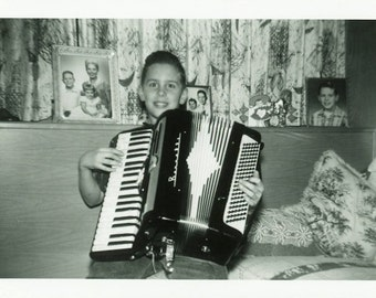 "Vintage Photo ""Accordion Smiles"" Snapshot Antique Photo Old Black & White Photograph Found Paper Ephemera Vernacular - 137"