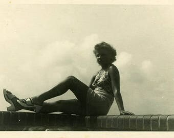 "Vintage Photo ""Basking with the Clouds"" Snapshot Antique Photo Old Black & White Photograph Found Paper Ephemera Vernacular - 134"
