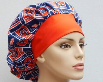 Bouffant Medical Scrub Hat - Auburn University Tigers Blocks NCAA Contrasting Orange Headband