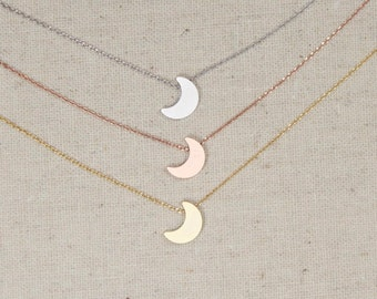 Tiny Crescent Moon Necklace | Silver | Gold | Rose Gold | Half Moon | I Love You To The Moon And Back | Minimalist | Gift | Mothers Day Gift