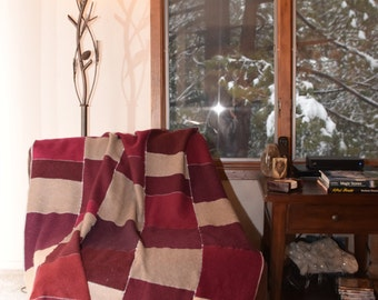 Upcycled Large Felted Cashmere Blanket in Burgundys, Reds, and Tans