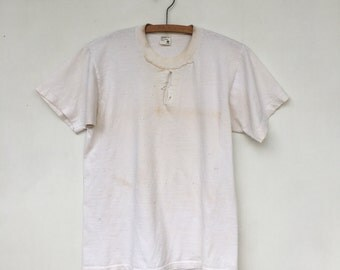 Vintage Cotton DISTRESSED Stitched & Holey T Shirt M