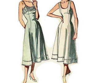 1950s Slip Pattern Scoop Neckline Sleeveless Size 20 Bust 38 FF Simplicity 3352 Vintage Sewing Pattern