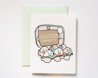 Egg-cited Baby Shower Congratulations Greeting Card