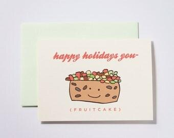 Happy Holidays Fruitcake Set of 5 Greeting Cards