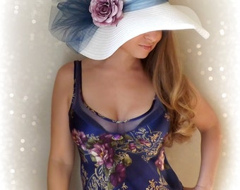Lavender Rose - White Floppy Hat Purple Flower with glitter Navy Blue Bow Kentucky Derby Garden Party or Weddings wide brim straw hat beach