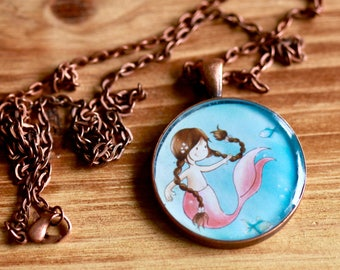 LARGE MERMAID PENDANT - Handmade resin pendant with stunning illustration and antique copper chain - Perfect for adults