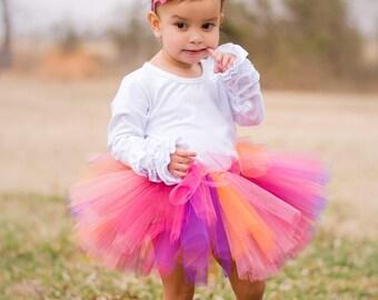 Tutu Newborn or Baby with Flower Headband - Newborn to 3T - Kenzo, Pink, Purple, Orange, Weddings, Showers, 1st Birthday - Smash Cake