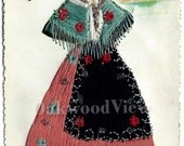 20% OFF Zaragoza Spain Embroidered Silk Postcard, Beautiful Senorita, Signed Elsi Gumier, Vintage Colorful Ephemera, FREE SHIPPING