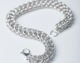 Sterling Chainmail Bracelet, Sterling Silver, Full Persian, 25 Year Anniversary, Womens Chainmail, Mens Chainmail, Thick Chain Bracelet