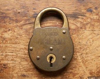 Vintage Brass Yale Vigilant Padlock - No Key